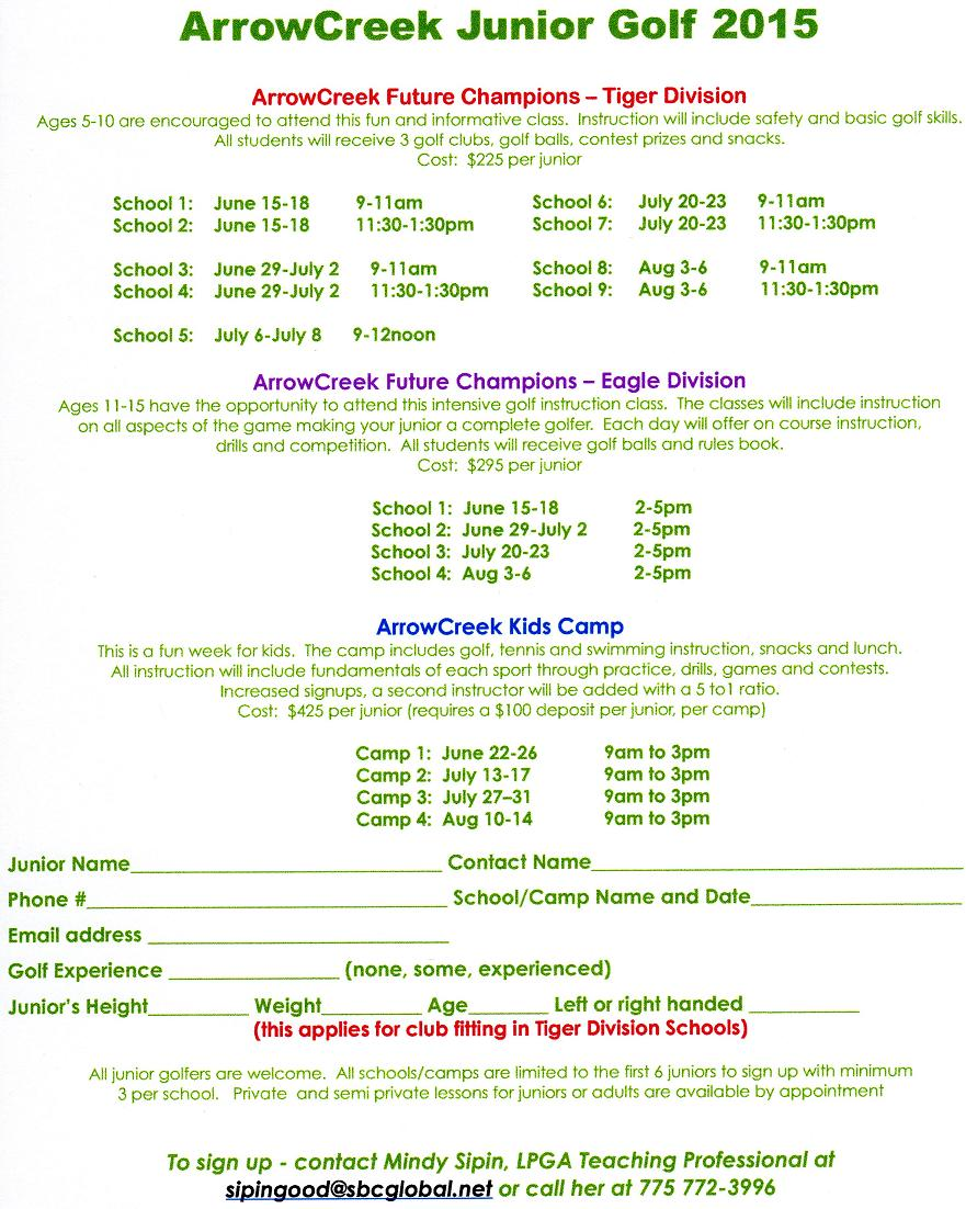 2015 junior golf schedule arrowcreek411