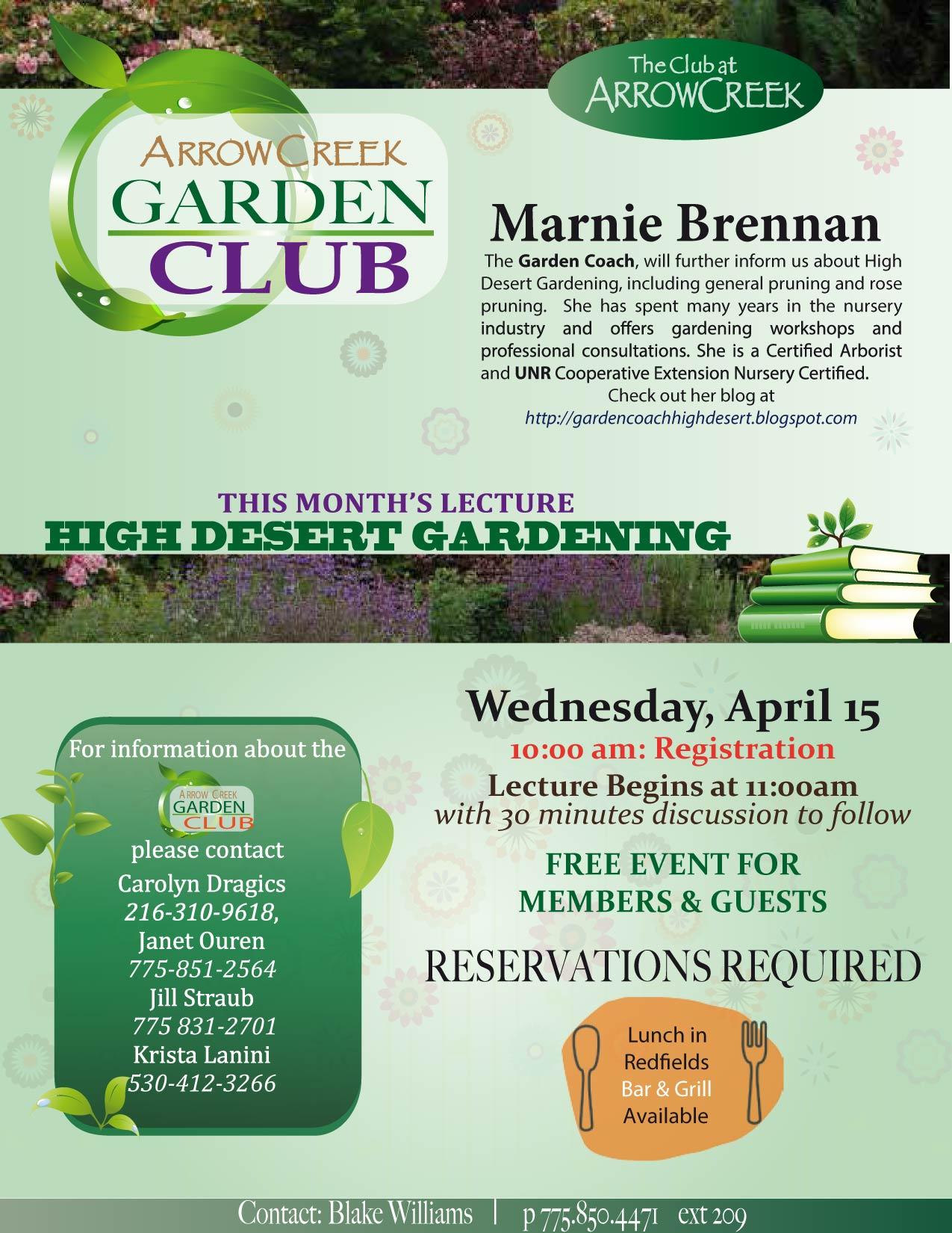 Print See flyer here. ArrowCreek Garden Club Activities   ArrowCreek411