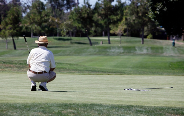 Tony Baron studies his shot at the ninth hole at the Rancho Del Pueblo golf course in San Jose on Tuesday, August 16, 2011 . (LiPo Ching/Mercury News)