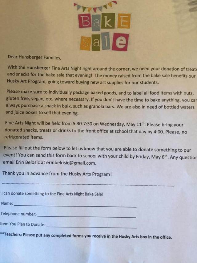 Bake Sale Donation Form