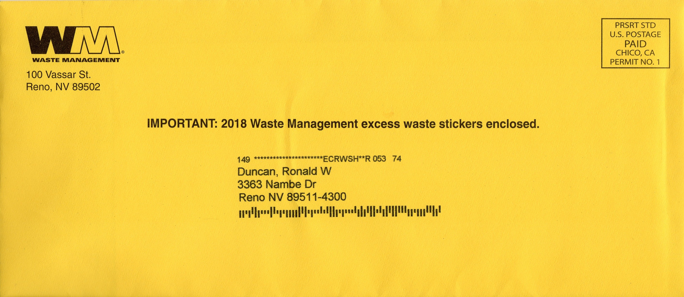 """Attention Waste Management Customers! This is NOT """"Garbage"""